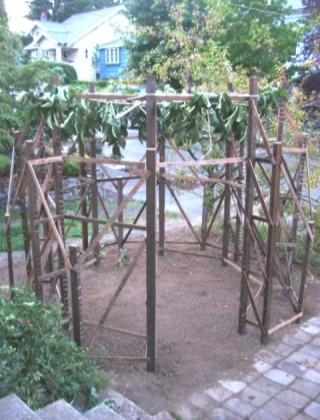 Completed frame with roofing, prior to enclosure