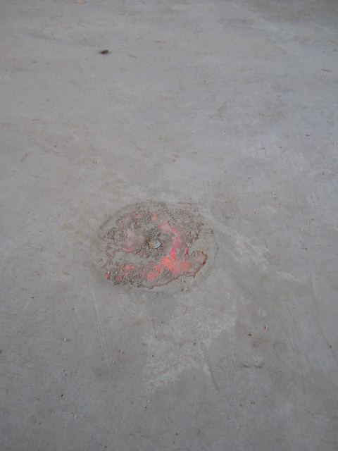 concrete topping at floor outlet