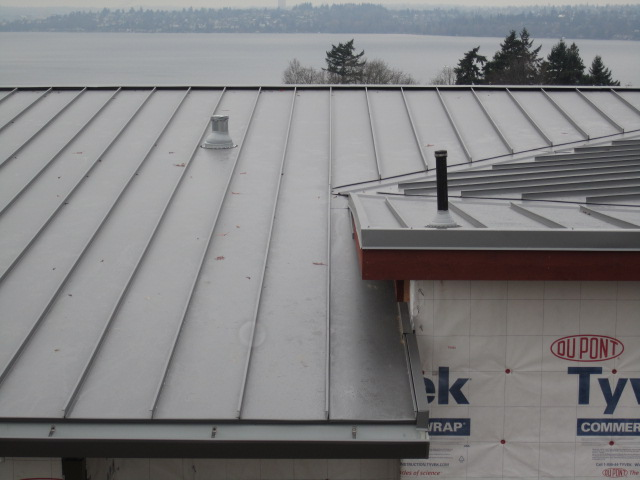 finished standing seam metal roofing