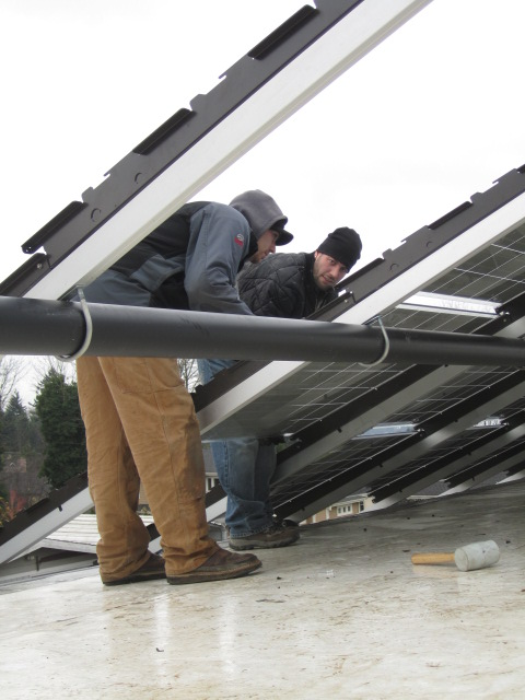 installing PV panels on rack