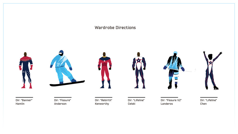 "For this project, my team and I had the unique opportunity to actually design the outfits our Olympians would be wearing! Above are some of the directions I created. The initial intent was to have each outfit in their own individual ""super suit"", but we ended up choosing one of the directions to guide and influence the rest of the outfits. In the end, this direction felt stronger as it kept Team USA unified as a whole, with a unified graphic style akin to the X-Men, especially given how each Hero's suit had to be designed to function in the athlete's respective sport."