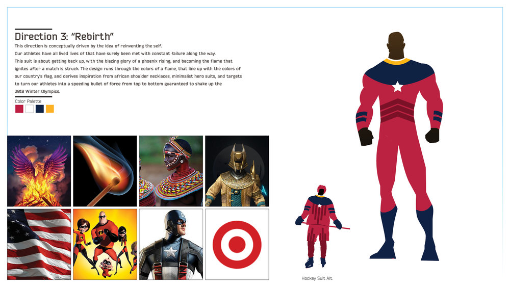 "Moodboard + Detail of the ""Rebirth"" suit direction — This design was one of my personal favorites that didn't make the cut."