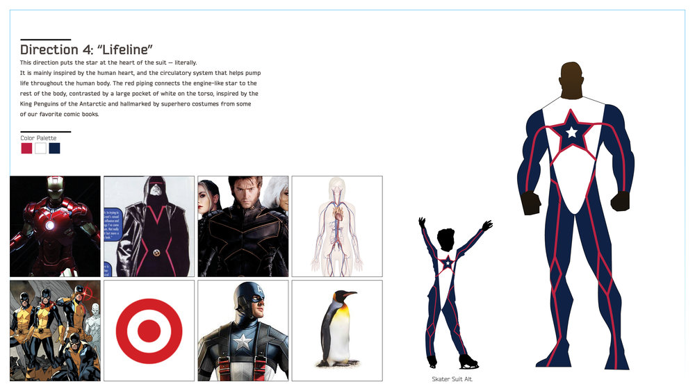 "Moodboard + Detail of the ""Lifeline"" suit direction, that made it all the way to the final spot above. Note the penguin inspo.!"