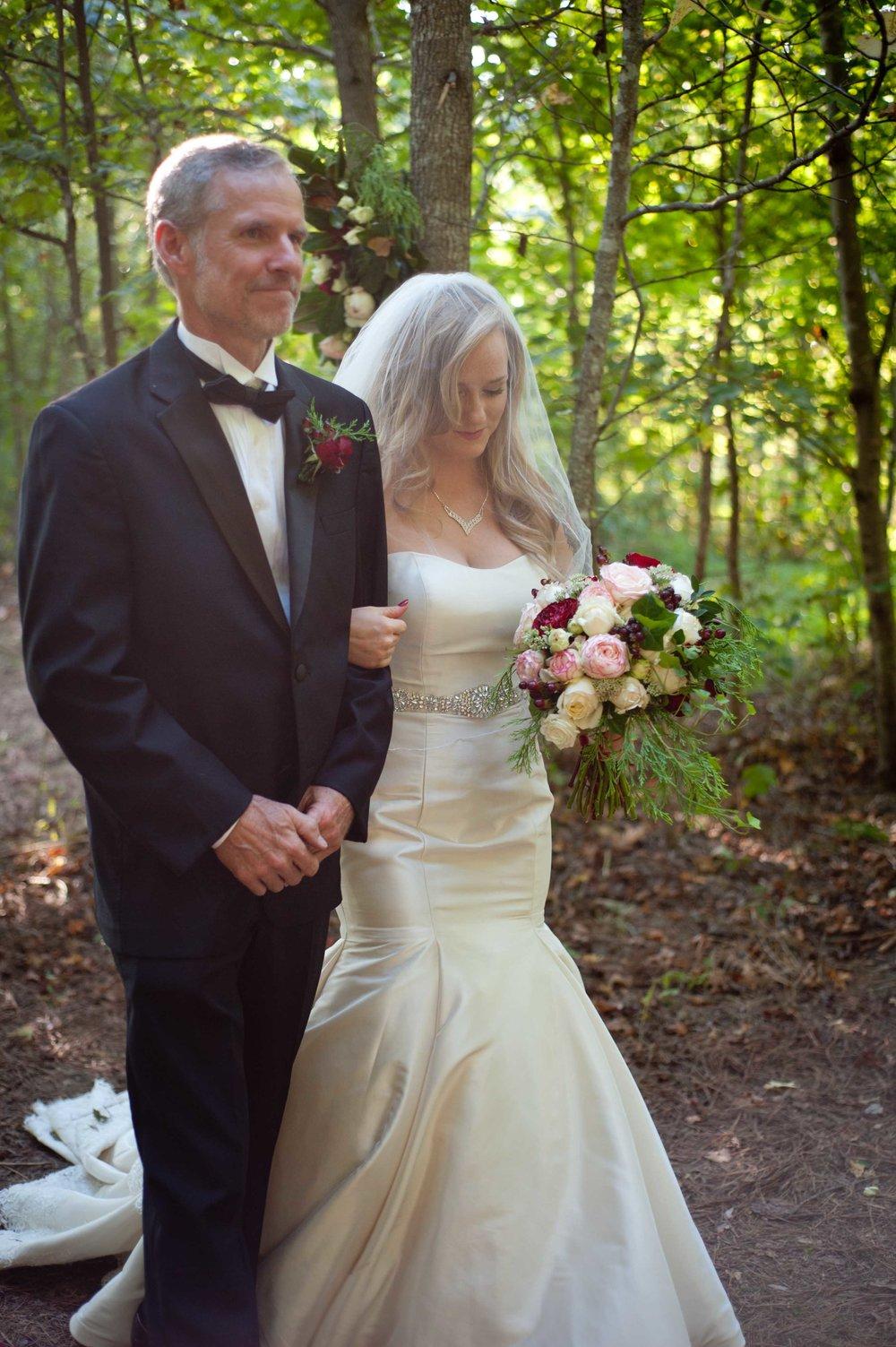 wedding ceremony father daughter bridal bouquet wedding dress .jpg
