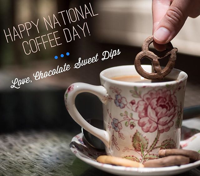 Happy #nationalcoffeeday ! #sweetdips #coffee #pretzels