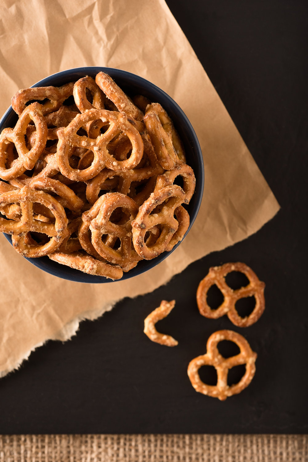 Flavored Pretzels on Parchment & Black Top View 20150414-pretzelphoria-_DEZ6241-Edit.jpg