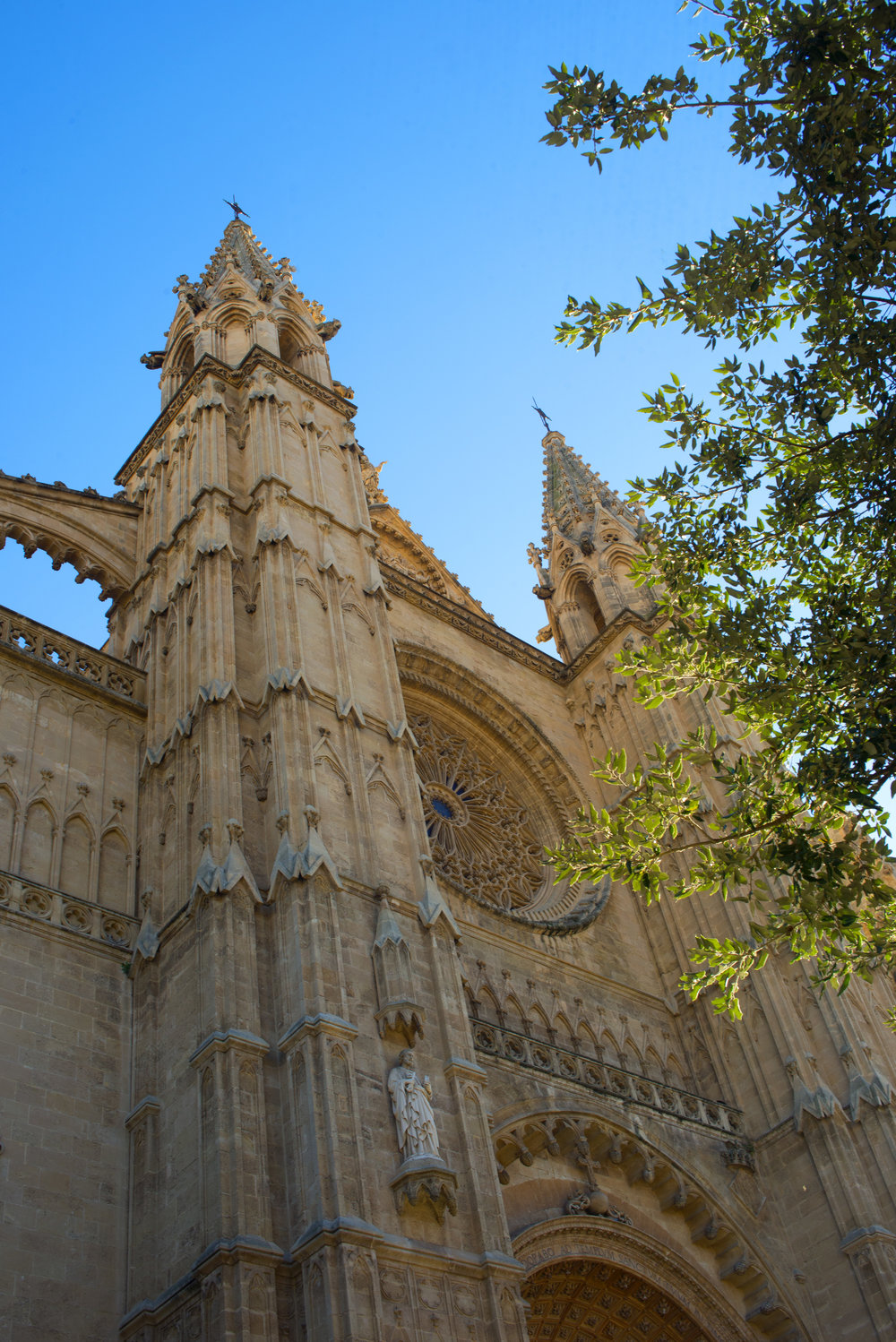 Front of the Cathedral of Santa Maria of Palma, Mallorca Spain.