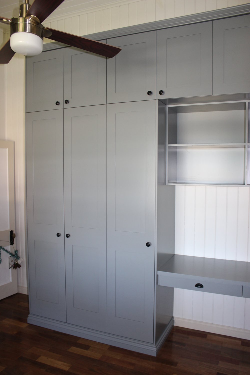 Custom design Wardrobe and desk with Shaker style hinged doors