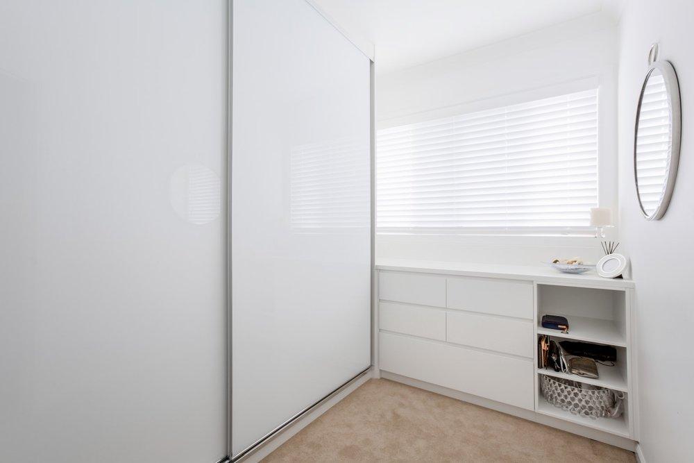 White glass semiframeless sliding doors