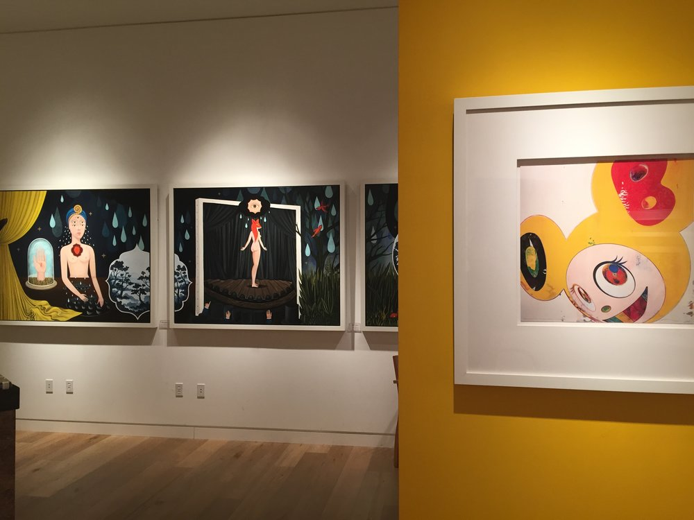 Art by Anne Faith Nicholls and Takashi Murakami at Martin Lawrence Galleries, South Coast Plaza, CA.