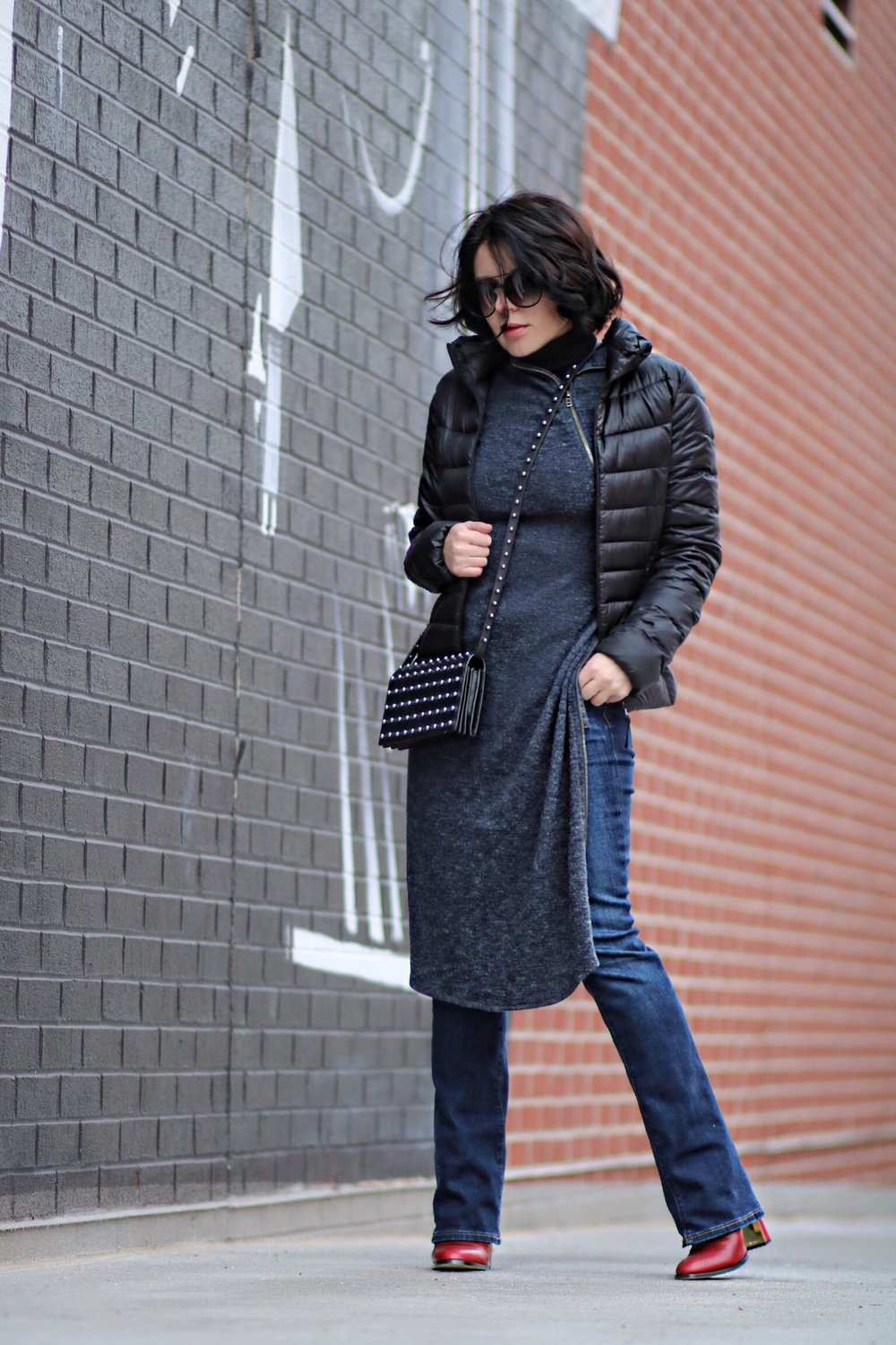 Uniqlo jacket & THML dress layered over LOFT denim