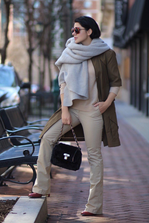 grey-knit-scarf-khaki-trench-coat