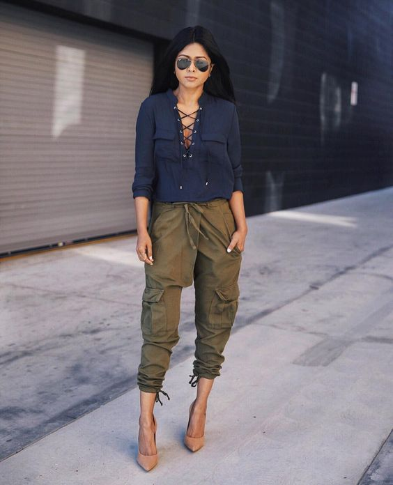 navy and khaki outfit