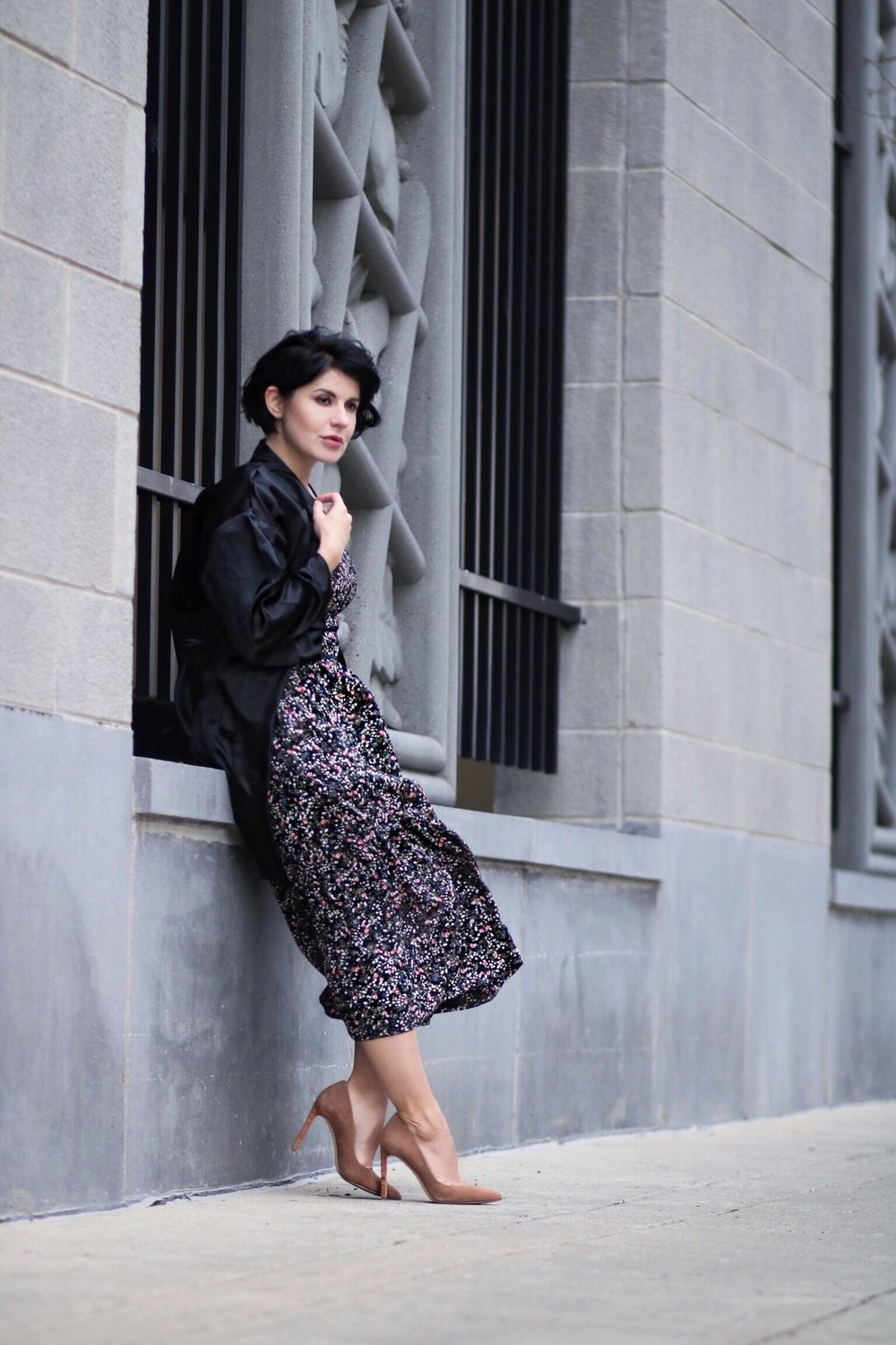floral print dress streetstyle