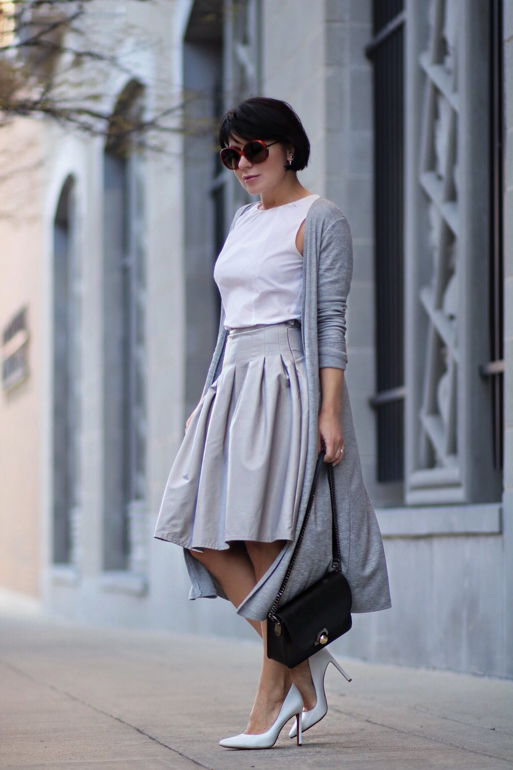 grey leather skirt white shirt