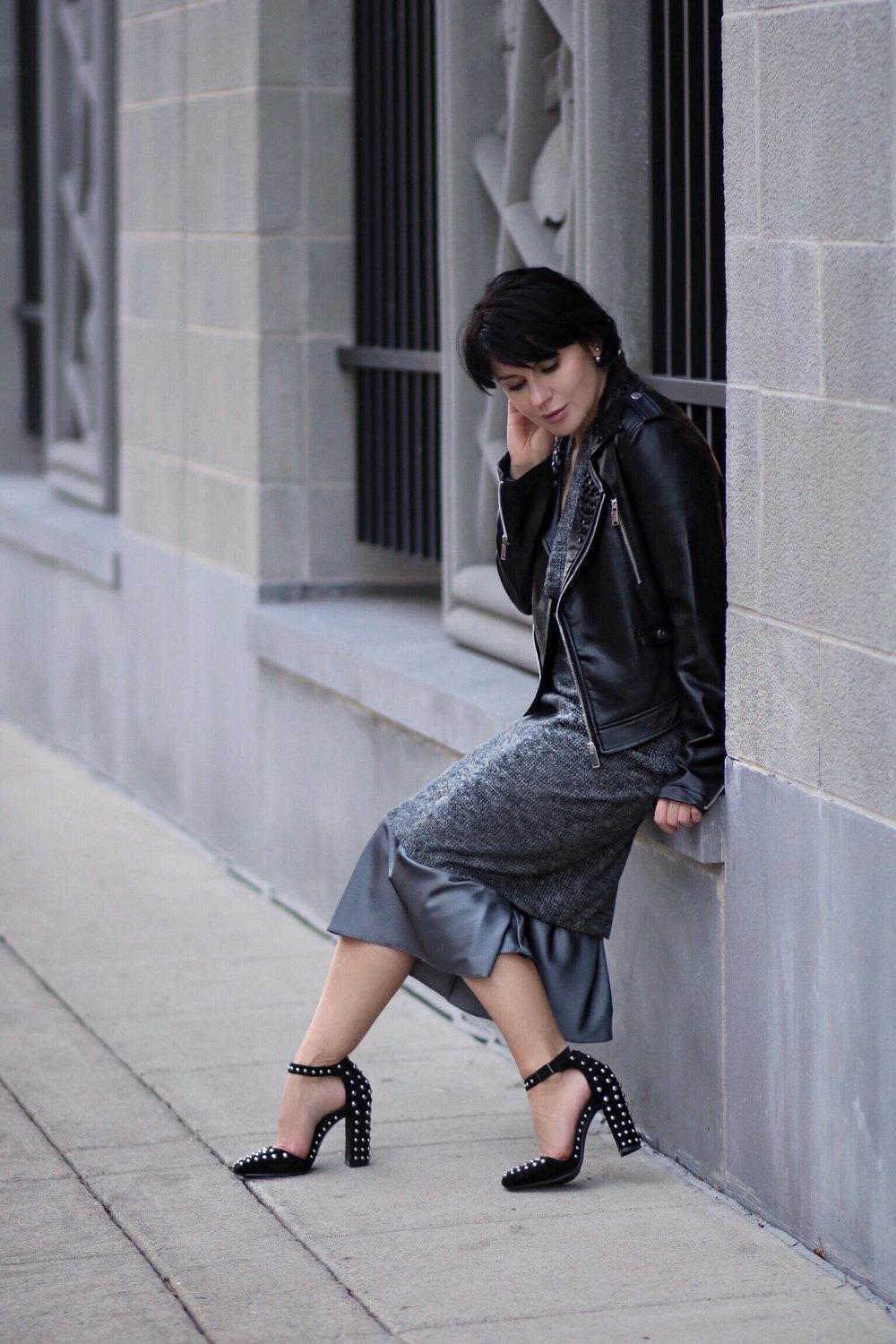 grey slip silk dress streetstyle