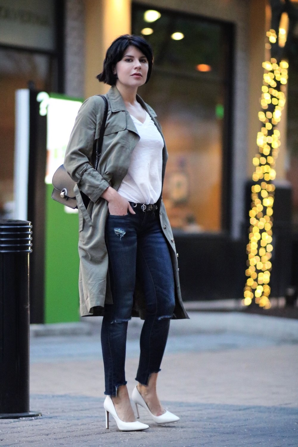 white tee and denim outfit street style