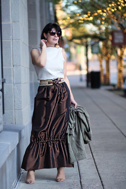 tiered drawstring maxi skirt blogger
