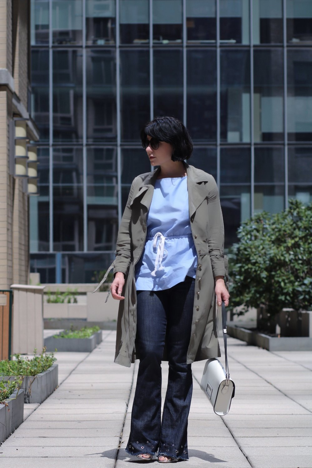 flare-denim-khaki-trench-outfit