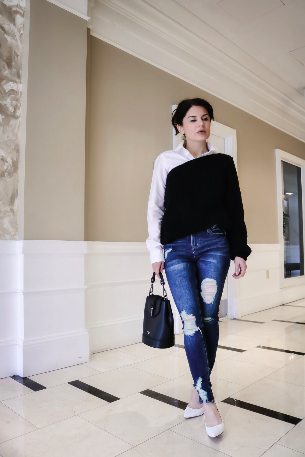 One-shoulder-sweater-denim-outfit