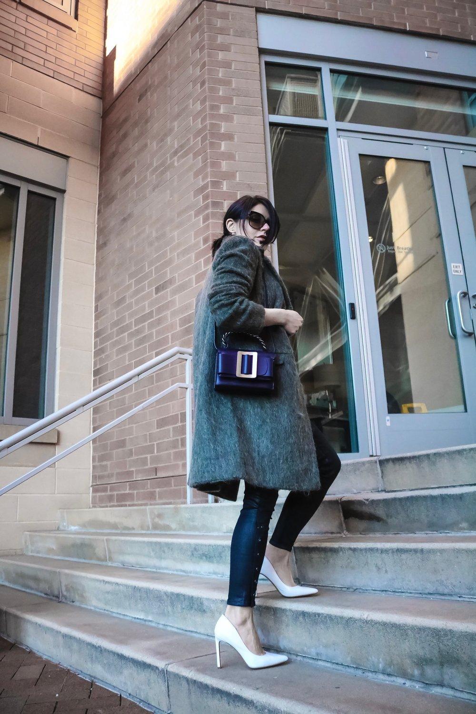 Isabel-Alexander-wearing-Asos-khaki-coat-petites-white-heels-climbing-stairs