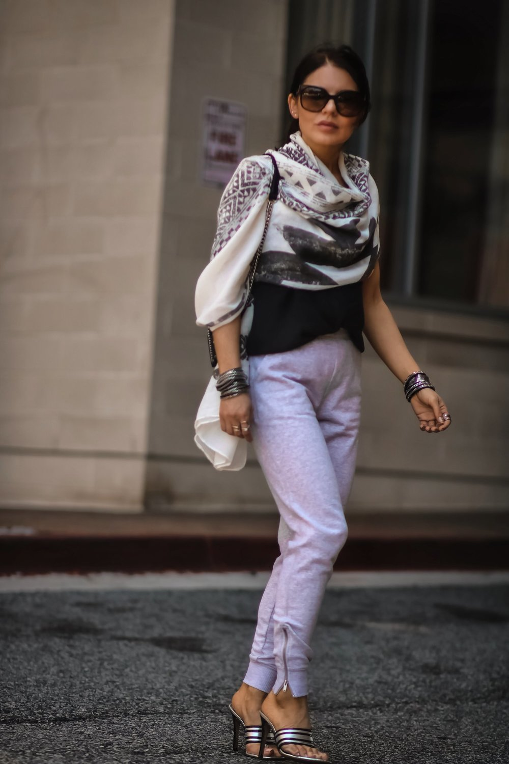 Isabel-Alexander-Aerie-scarf-light-grey-joggers-street-style