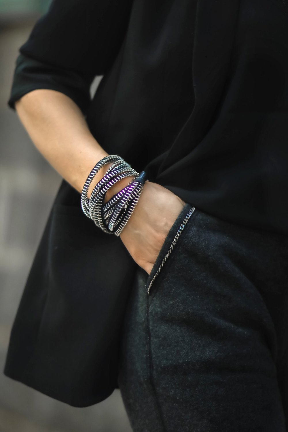 The Dark Shop Zipper Bracelet Close Up Isabel Alexander Blogger Style