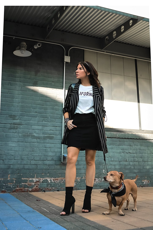 Isabel Alexander With Her Daschund Dog Wearing Stradivarius Striped Blazer H&M Skirt