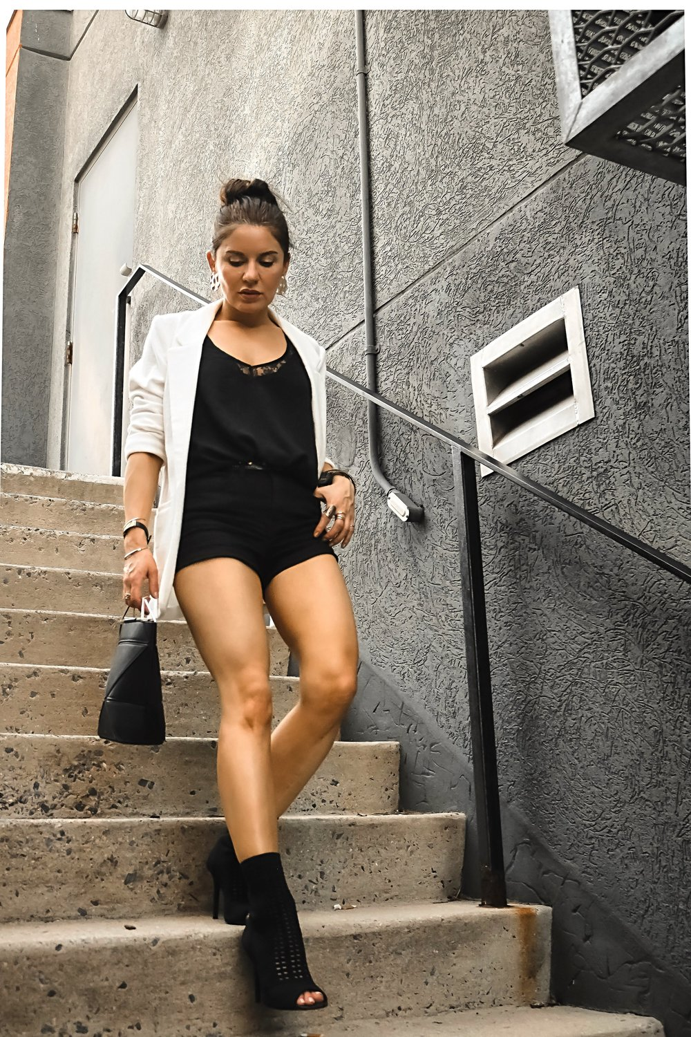 White Blazer Black Shorts Boots Outfit Isabel Alexander Streetstyle