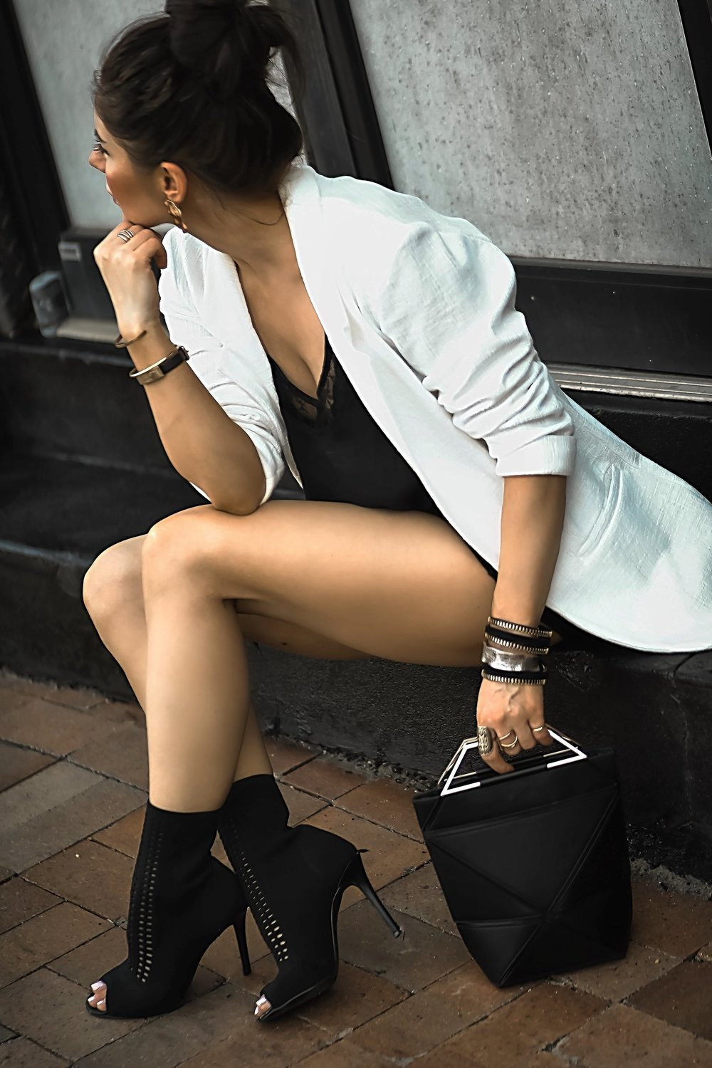 New Look White Blazer Yee Si Foldable Bag Boots Bracelets Stack Isabel Alexander Sitting down