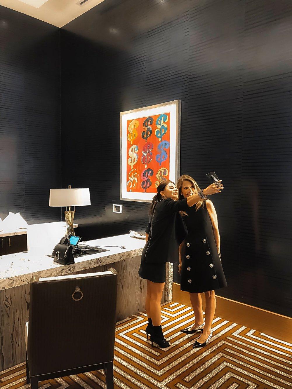 Live Hotel Casino Suzi Cordish Isabel Alexander selfie next Andy Warhol