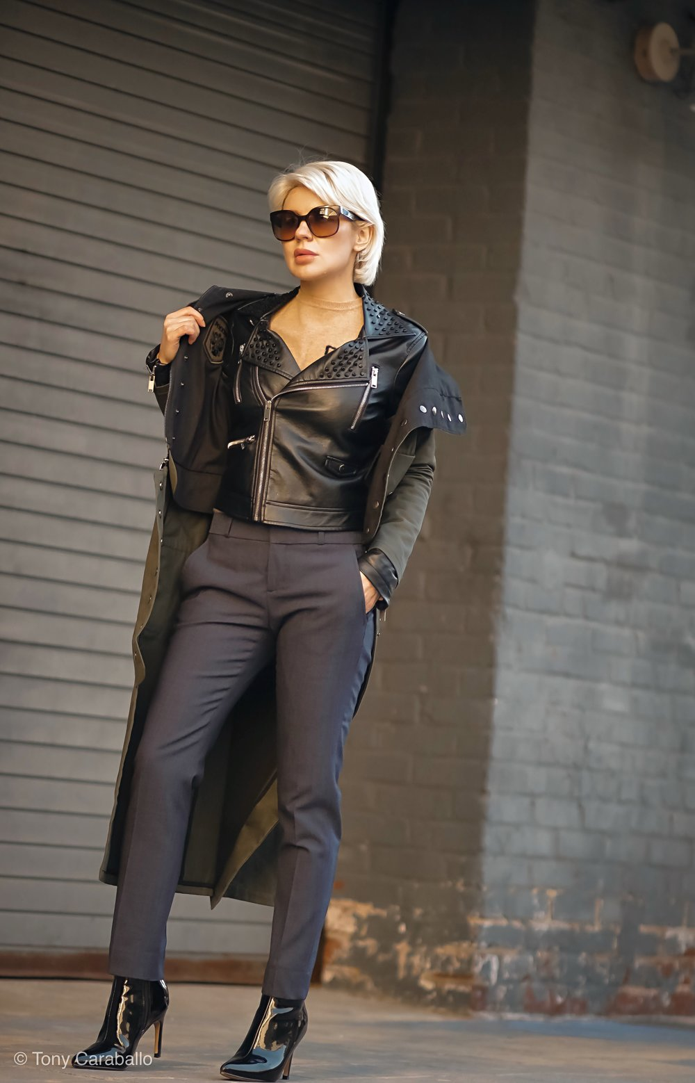 CLothia Womenson leather jacket street shot