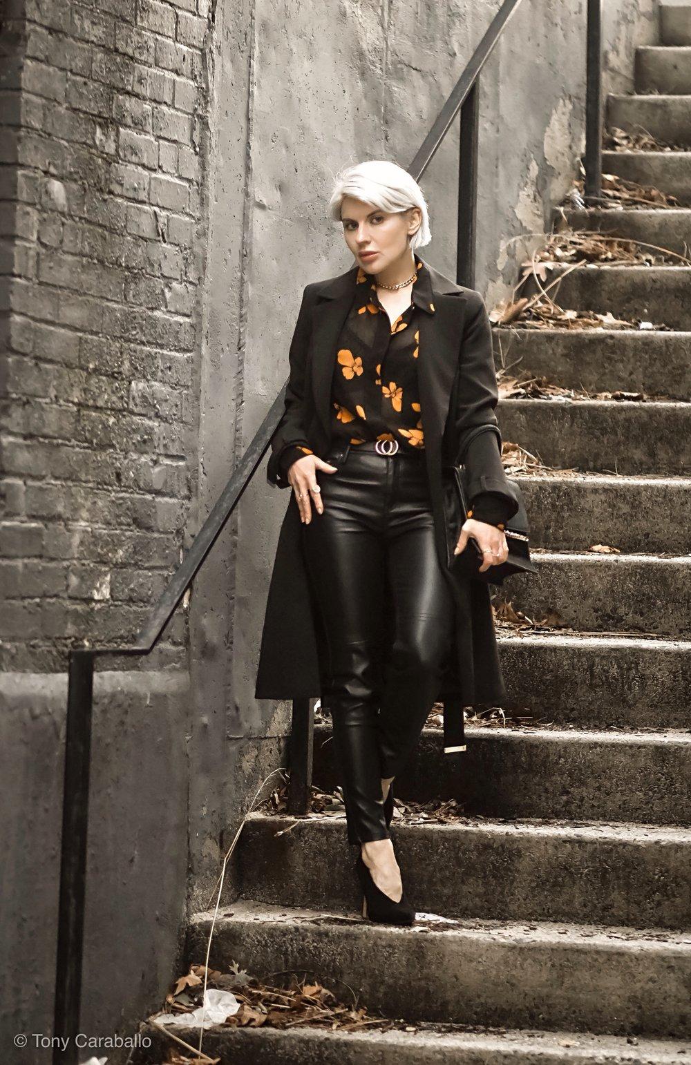Isabel Alexander leather pants black blazer