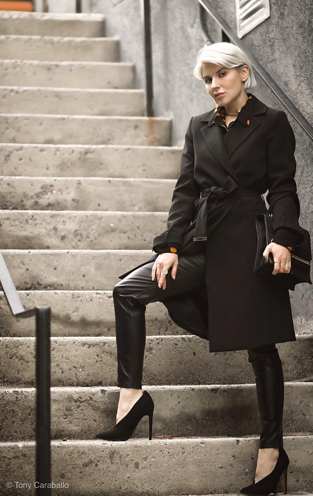 Isabel Alexander wearing longline black blazer