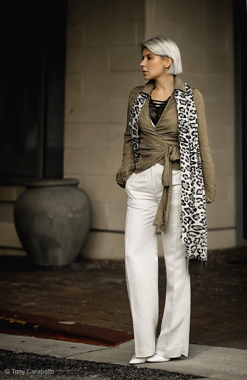 Isabel Alexander olive shirt white pants
