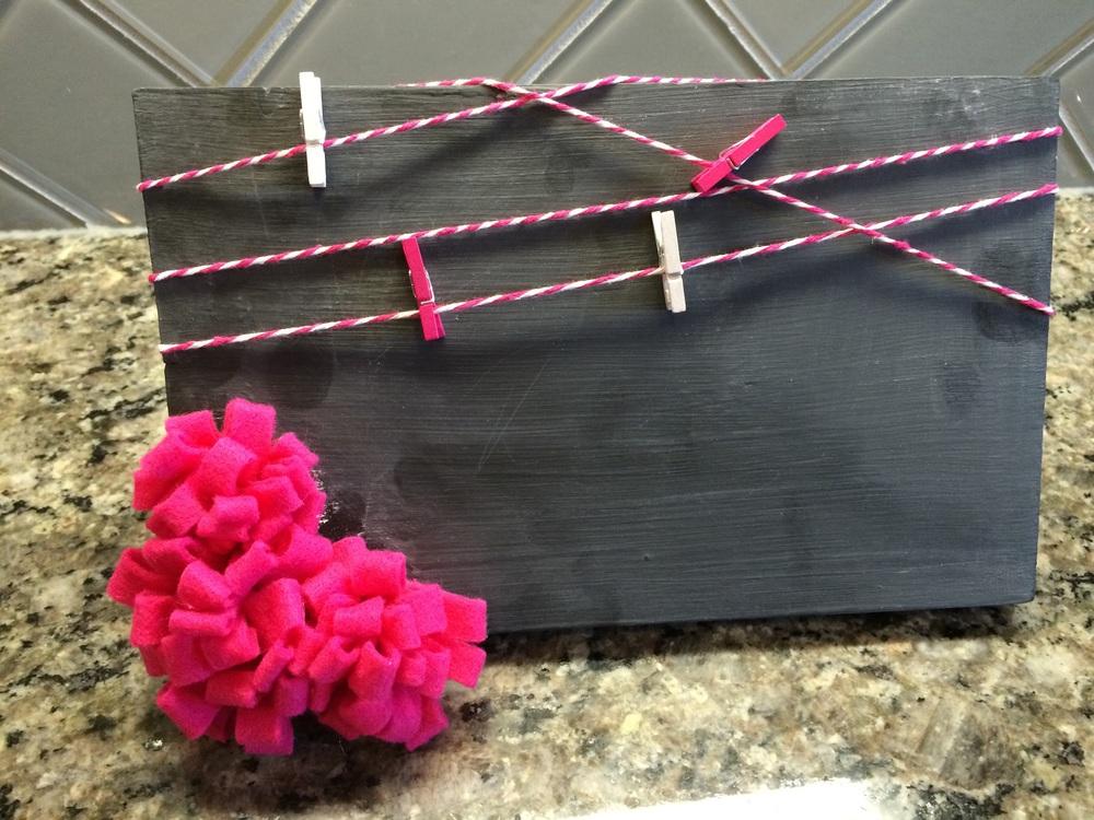 Pink Chalkboard Picture Board