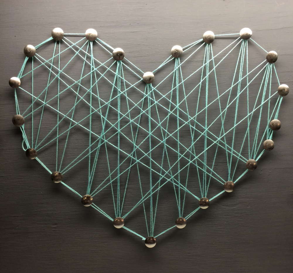 Heart String Art I made at Craft Club