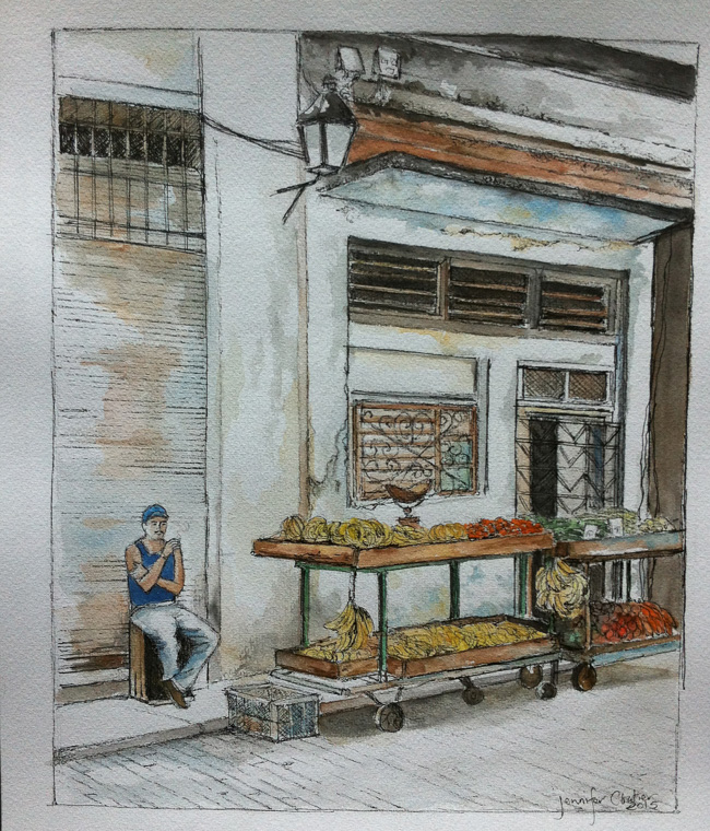 Havana Markets, 9.5x 11.5 inch, Watercolor&Ink