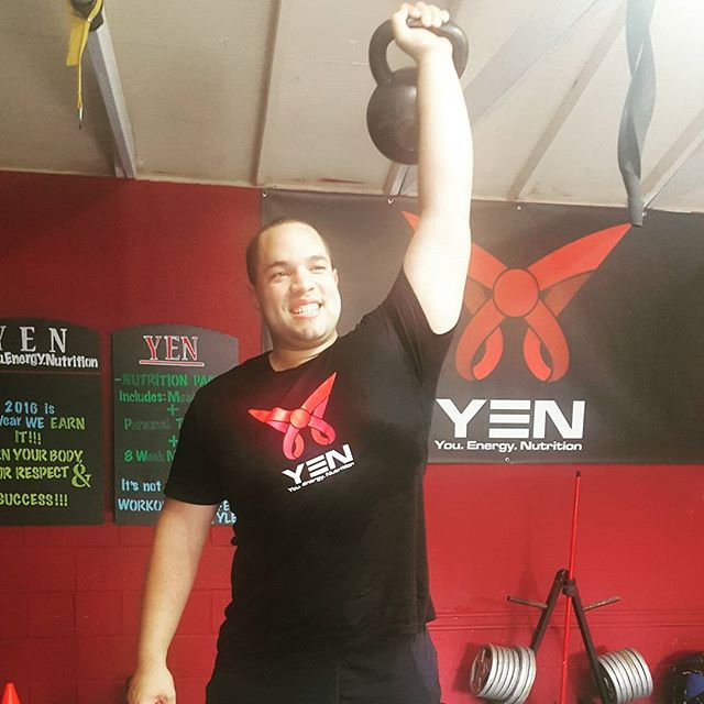 Who else is happy it's hump day?! Check out Trevor one of our badass clients breaking in his earned YEN signature shirt! Become a member and join our loyalty program to earn points to get special discounts, apparel, cookbooks and much more. Check out our website, the link is in our bio, to get more info. #HumpDay #EarnIt #LoyaltyProgram #YEN