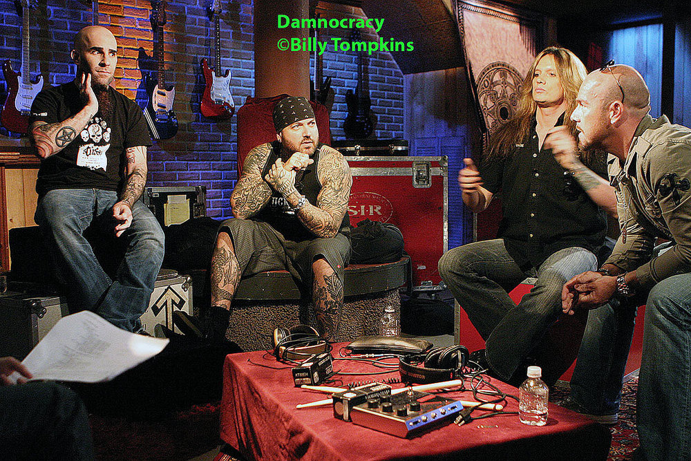 super group Damnocracy on the set of VH1 Classic's interview program
