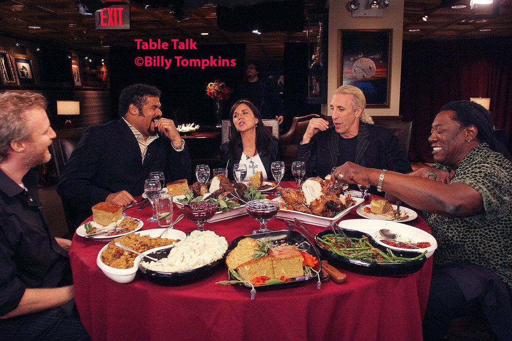 musicians enjoying Thanksgiving dinner on a VH1 Classic set