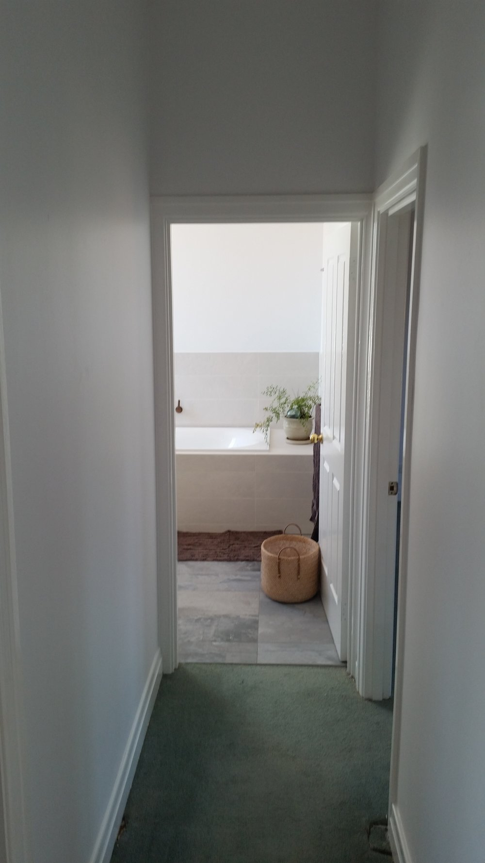Bathroom renovation after - Doorway into bathroom