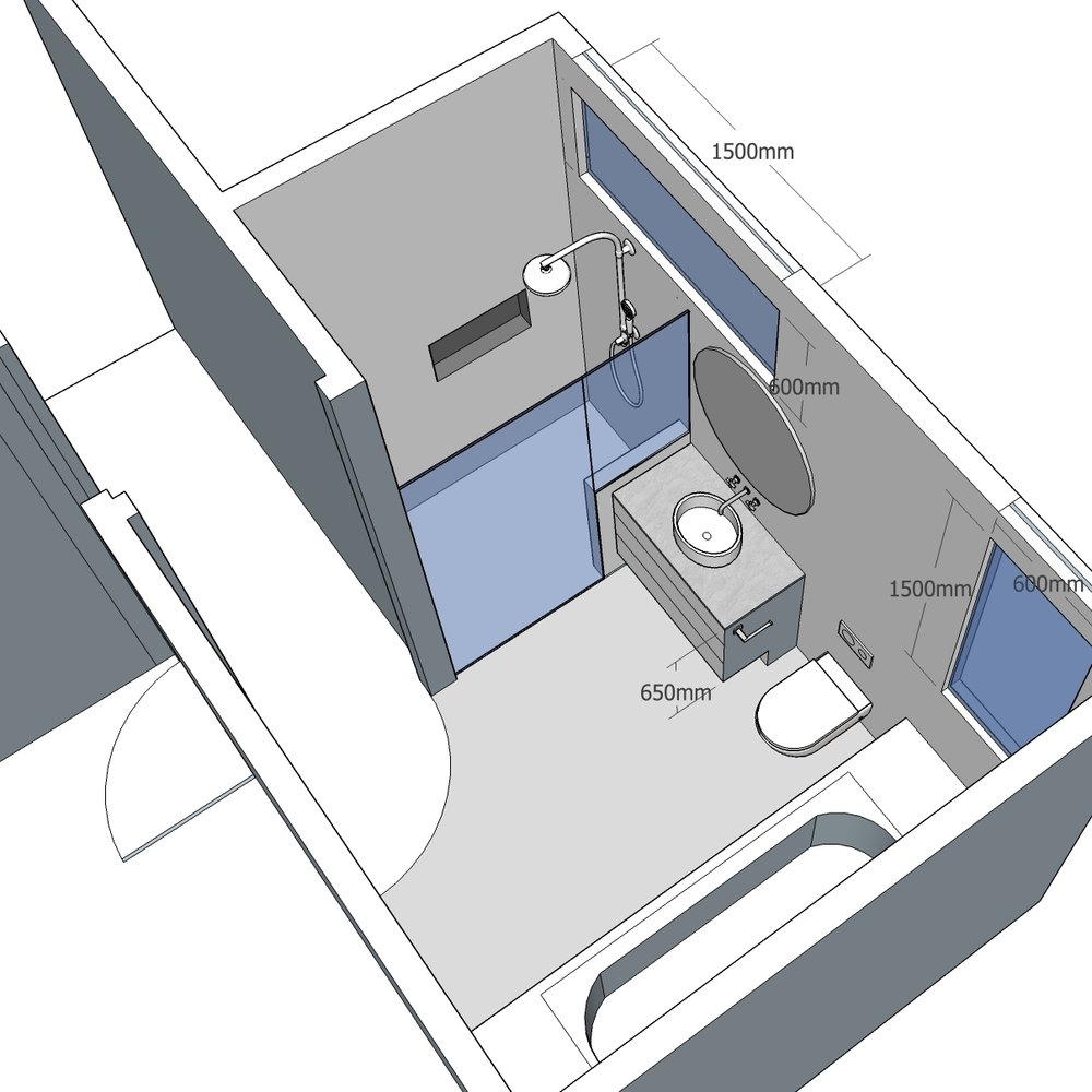 Bathroom renovation - 3D drawing of reconfiguration