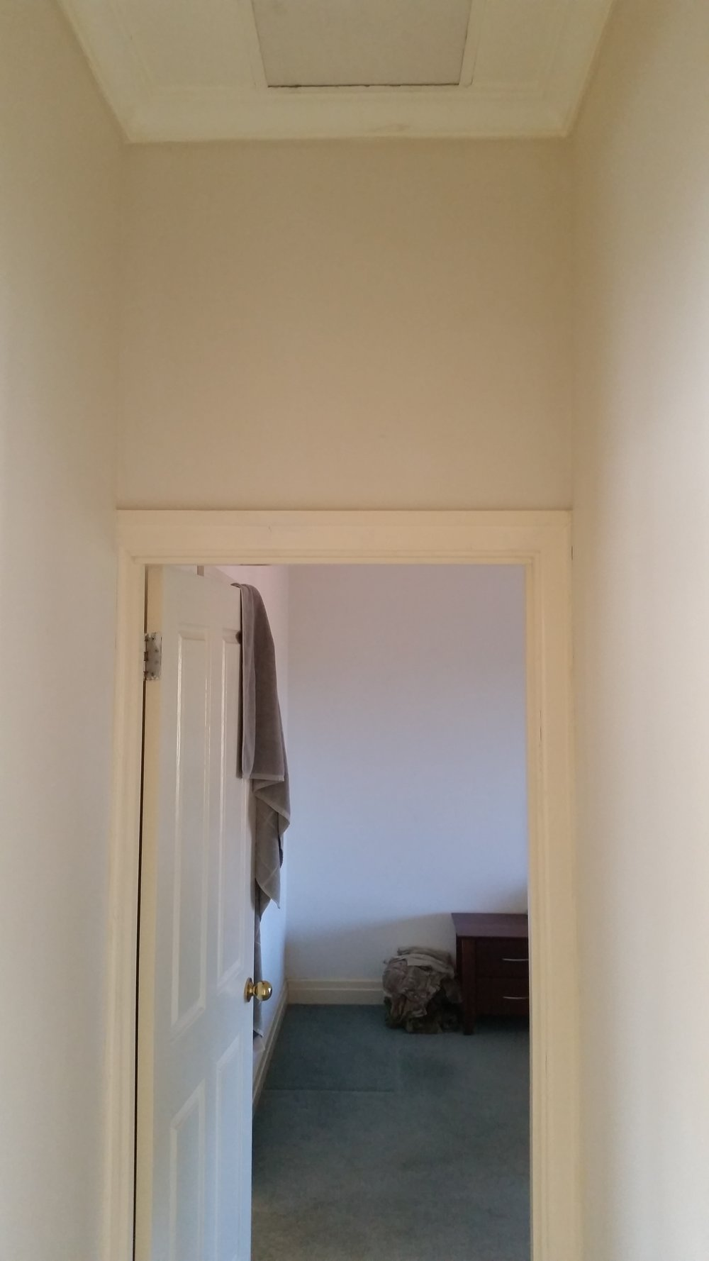 Bathroom renovation before - Doorway into bedroom