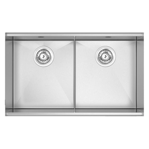 Double Bowl Size: 733 x 445mm | Ref: 02/PZ340D | Undermount
