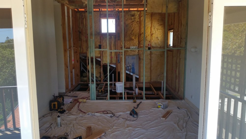 Bathroom renovation during - Bedroom/bathroom wall re-framing