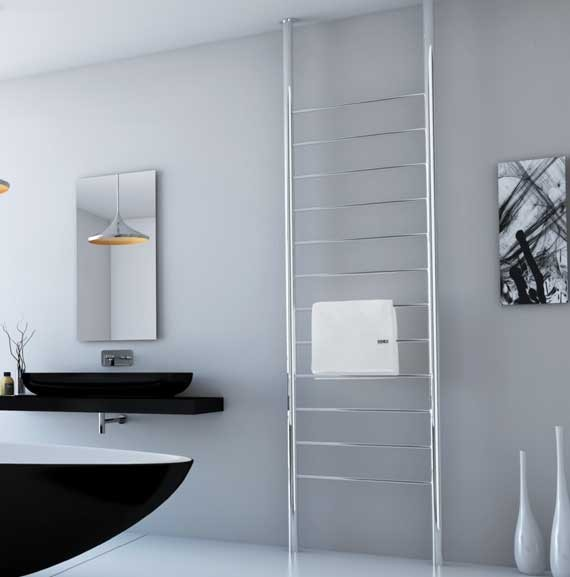 DC Short Floor to Ceiling heated towel rail