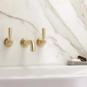 Brodware Manhattan Basin Wall Set - Brushed Brass