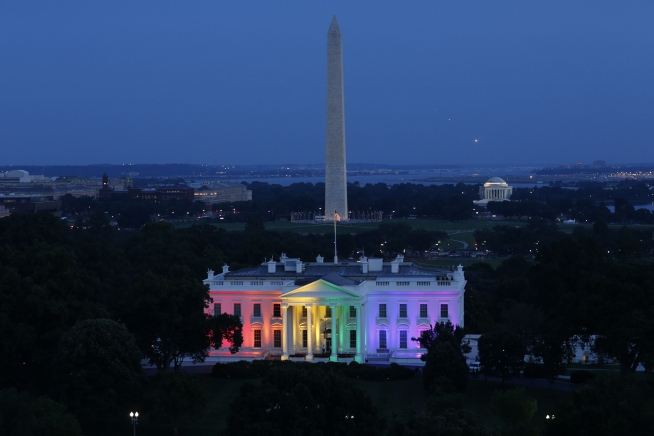 Rainbow lights decorated the White House on June 26, 2015. #LoveWins