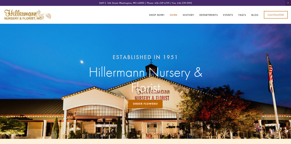 Hillermann's Nursery & Florist is a large, family owned Nursery/Garden Center established in 1951. The company is diversified with many departments including: Nursery, Garden Center, Floral/Gift Shop, Outdoor Equipment, and Landscape/Irrigation.
